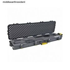 "Gun Case 54"" Rifle 2 Double Scoped Lock Protect Storage Travel Hard Black Wheels"