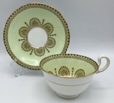 Aynsley Cup & Saucer Gold Design on Mint Green Band Flowers Vintage
