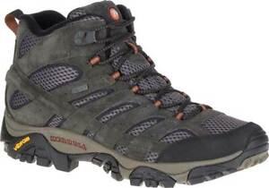 NEW Mens MERRELL Moab 2 Mid Beluga Green WATERPROOF LEATHER Hiking Boots GENUINE