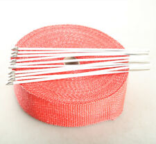 """2"""" 50FT Fiberglass Exhaust Header Thermo Heat Wrap Tape Red + 10 Ties Kit"""