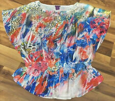 Plus Size Womens 2X Colorful Splatter Art Print Dolman Boho Blouse Top