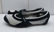 Adidas Fit Foam Women's Black White Leather Mesh Slip On Mary Jane Shoes 9.5M 42