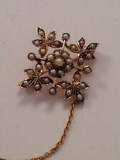 Pretty Victorian 9ct Gold & Seed Pearl Set Snowflake Brooch