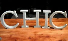 CHIC Wood Letter Decorative Sign Word Plaque Farmhouse baby blue distressed