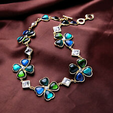 Statement Necklace Gold Green Blue Crystal Clover Flower Square Vintage OSC2