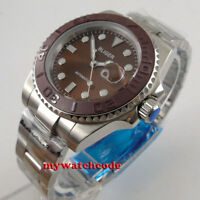 40mm Bliger brown dial ceramic bezel sapphire crystal date automatic mens watch