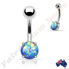 316L Surgical Steel Silver Belly Ring with Prong Set Blue Glitter Opal