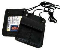 Genuine Leather ID Card Pocket Holder ID Badge Wallet with Neck Strap