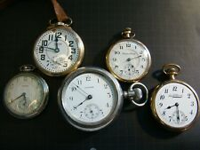 5 Old Pocket Watches From Estate 3 Waltham,  1 South Bend, 1 Hampden Watch,