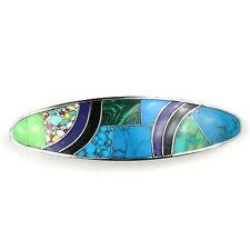 Hair Barrette (3.5 x 1 In.) Oceanic Mosaic of Greens & Blues Handmade Fair Trade