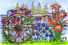 Wagon Wheel On Fence And Flowers Wood Mounted Rubber Stamp NORTHWOODS P10237 New