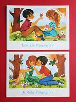 2 x DDR Glückwunsch AK PFINGSTEN um 1979 Pärchen Paar auf Wiese  ( 37025