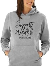 Support Wildlife Raise Boys Funny Mom Women Hoodie Mother's Day Gift