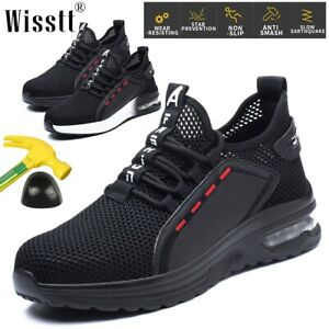 Mens Running Boots Safety Sneakers Work Walking Steel Toe Durable Air Mesh Shoes