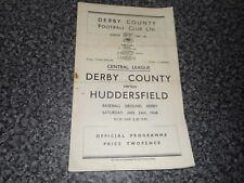 DERBY COUNTY  reserves  v  HUDDERSFIELD TOWN reserves  1947/8  ~ JANUARY 24th