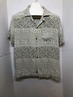 Caribbean Joe Coastal Casuals Island Green Button Down Hawaiian Shirt Size L