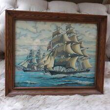 Vintage Paint By Number TALL SHIP Clipper Framed Art Finished Nautical Art PBN