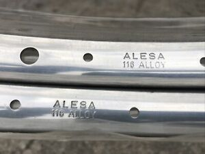 "2 NOS ALESA 27""x1 1/4 Bicycle Rims 36h Vintage Polished Aluminum"