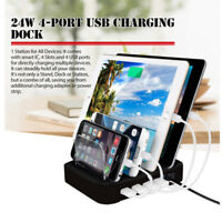 4-Port Devices USB Fast Charging Dock Station 2.4A Smart Charger Stand Organizer