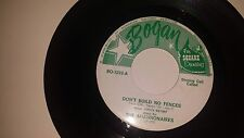 "THE SHANNONAIRES Don't Build No Fences + Instrumental BOGAN 45 VINYL 7"" RECORD"