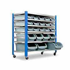 Giantz 22 Bin Storage Shelving Warehouse Rack Tool Garage Wheels Trolley 5 Tier