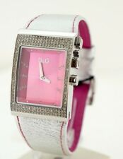 D&g Time Silver Crystal 3 atm DW0156 Watch Watch Fashion Steel Pink