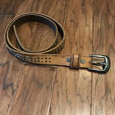 """Brown Leather Thin Belt With Studs Unbranded 42"""""""