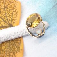 Citrin Opal schwarz gold gelb oval Design Ring Ø 18,0 mm 925 Sterling Silber neu
