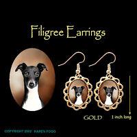 ITALIAN GREYHOUND DOG Black & White - GOLD  FILIGREE EARRINGS Jewelry