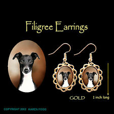 Italian Greyhound Dog Black & White - Gold Filigree Earrings Jewelry