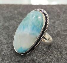 Larimar Gemstone Ring 925 Sterling Silver Ring Handmade Ring Size 8.75 mo51