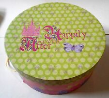 """Vintage Happily Ever After Hat Box Pink Green Floral Large Round 12"""" Diameter"""