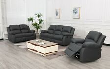 LEATHER RECLINER 1 2 3 SEATER SOFA, BROWN, GREY, BLACK, COUCHES SET SUITE