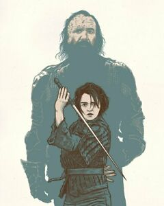 """Game of Thrones Arya and The Hound Limited Poster Screen Print Art 16"""" x 20"""""""