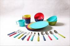 Reusable 24 pieces Dinning Set Dish For Tailgating, Camp, Picnic,Outdoor Hiking