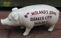 Cast Iron Wm Moland's Sons Quaker City Hams Pig Money Piggy Bank Vintage XBPIS