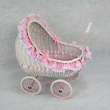 Display Isabella Classic Cane Wicker Girls Toddler Dolls Pram Linen