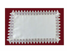12 X 18 INCH WHITE DOILEY TRAY CLOTH WITH FLARED FLOWER LACE TRIM (54466)