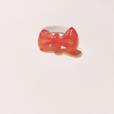 FASHION JEWELRY - AZNAVOUR - Coral Red Pink Lucite Bow on White Band Ring 7