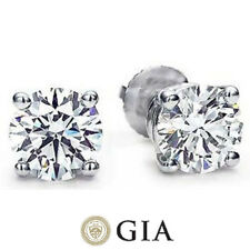 Round Diamond Studs Earrings GIA certificate F VS1 Ideal 1.50 tcw 0.75 ct each
