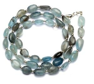 """Natural Gem Moss Aquamarine Smooth Nugget Beads Necklace 21"""" 130Cts."""