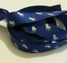 1m grosgrain 22mm ribbon polo pony horse blue use dummy or hair clip cake decor