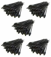 "500 pcs 7"" Inch Black Nylon Cable Wire Zip Ties Mounting Hole Nail Screw 50 LBS"