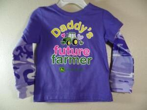 New Girl's JOHN DEERE Purple DADDY'S FUTURE FARMER Shirt w/ Camo Sleeves, Sz 18M