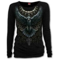 Spiral Direct RAVEN SKULL Womens Long Sleeve Gothic/Rock/Metal/Top/Clothing