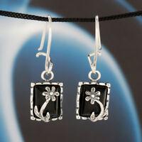 Onyx Silber 925 Ohrringe Damen Schmuck Sterlingsilber H0187