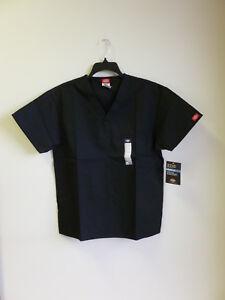 Dickies Scrub TopV Neck Unisex EDS 1 Breast Patch Pocket  Black # 810106 XS-2XL