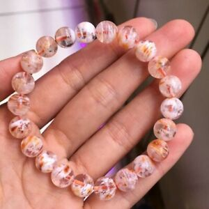 8.5mm Natural Pink Rutilated Quartz Stretch Crystal Beads Bracelet AAAA