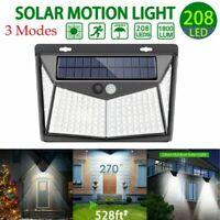 208 LED Solar Luz de Pared Impermeable Sensor de Movimiento Lámpara Exterior