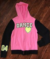 GIRLS Justice DANCE JACKET size 12 Hot Pink Black hoodie Athletic Sparkles